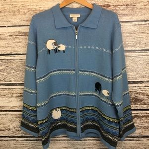 Allison Daley Blue cardigan Sweater with sheep 2X